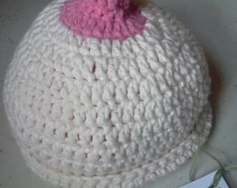 Nursing hat, baby, boobie beanie, breast feeding bonnet size 6-12 months
