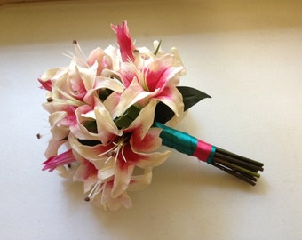 Real Touch Bridal Bouquet Stargazer Lilies