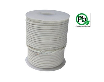 Round Leather Cord White  1mm 25meters