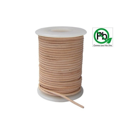 Round Leather Cord Natural  2mm 5meters