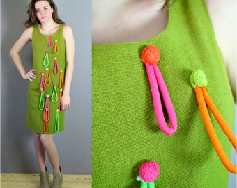 Vintage 1960s Mod Green Linen Shift Dress