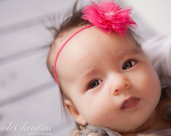 Hot Pink  Headband, shabby chic, newborn headband, baby headband, newborn photography prop