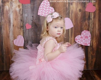 PINK TUTU with shabby chic headband....baby tutu, newborn tutu, 1st birthday tutu, baby photography prop