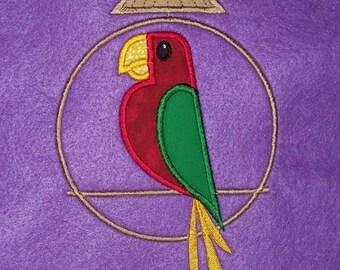 Red Teeke bird  appliqued t-shirt