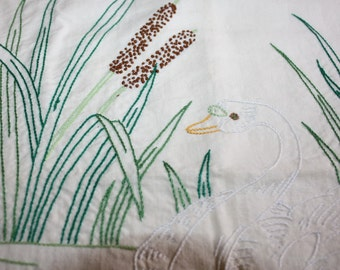 Embroidered Pillow Cover with Swan and Bullrushes