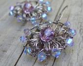 Light Purple Earrings - Crochet Wire Earrings - Silver Wire Crochet Medallion Earrings - Lavender Purple Swarovski Crystal - Rustic Wedding