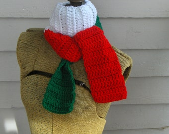 The Christmassy Scarf - Red white green Festive colors. Italian or Christmas Boho tri colored handmade homespun scarf Neck wrap
