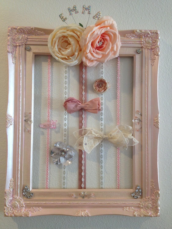 Hair clip bow holder frame wall art for Photo clip wall frame