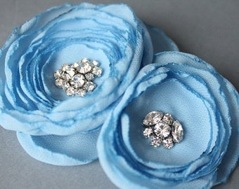 Baby blue flower bridal haircomb hairpiece accessory fascinator with crystal rhinestones