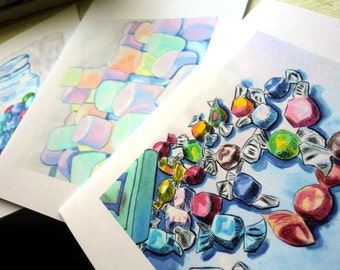 Blank Notecards - Candy Watercolor Art Notecards (Ed. 3), Set of 8 - Tootsie Roll, Taffy, Marshmallows, Gumballs