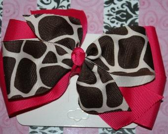 Hot pink and Giraffe Hair Bow