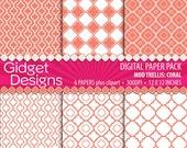 Coral Digital Paper Quatrefoil Clip Art Patterns Scrapbook Paper DIY Wedding Free For Commercial Use