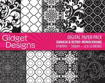 Black Digital Paper Pack Damask Quatrefoil Black and White Patterns Instant Download Scrapbooking Printables