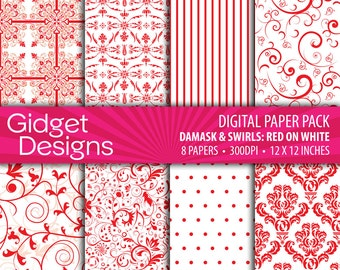 Red Digital Paper Pack Damask Patterns Red and White