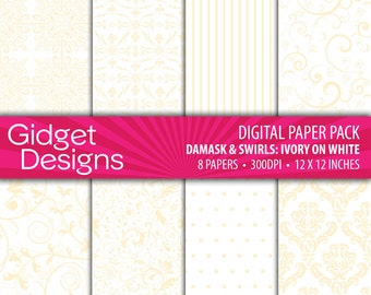 Ivory Digital Paper Pack Damask Patterns Ivory and White DIY Wedding Engagement Bridal Shower Save the Date