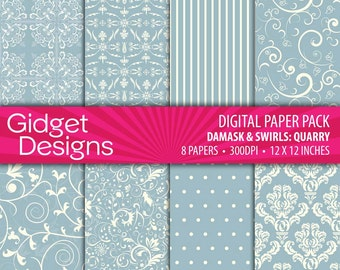 Gray Digital Paper Pack Damask Patterns Quarry French Gray Scrapbook Paper Printable Paper Instant Download