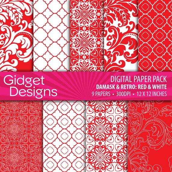 Red Digital Paper Pack Damask Quatrefoil Patterns