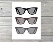 Sunglasses Digital Print - Ray Ban - Summer - Black Brown Grey - Beach Vacation - Modern Wall Decor - Men Gifts Under 20 - AldariArt
