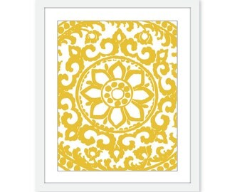 Art Deco Ornament Digital Print Home Decor Wall Art Mustard Yellow Abstract Flower