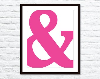 Ampersand Print - Ampersand Wall Art - Pink Ampersand Poster - Modern Ampersand Wall Art - Aldari Art