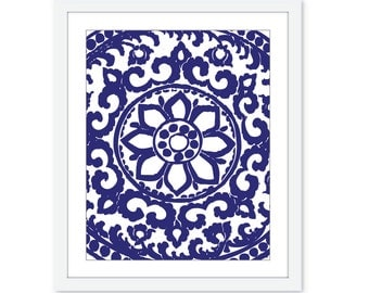 Art Deco Ornament Digital Print - Modern Wall Art  - Blueberry Navy Blue Royal Blue Cobalt Home Decor - Abstract Flower