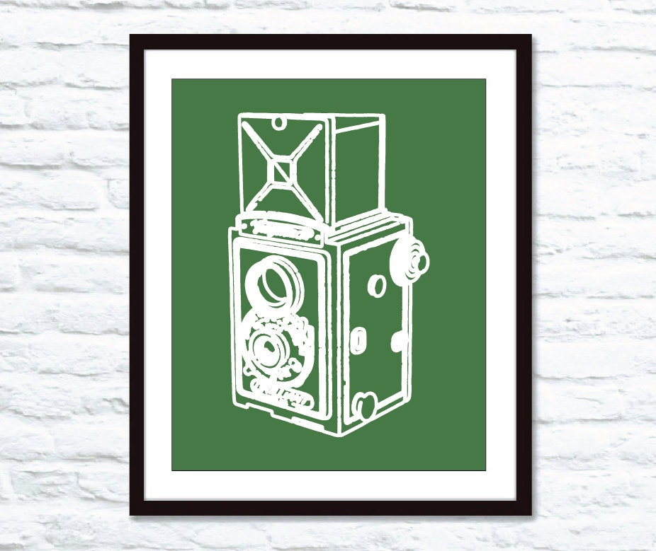 Vintage Box Camera Digital Print Emerald Green by AldariArt