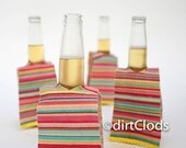 Day at the Beach Beer Coozie Set of Four, Mexican Serape Beer Huggers, Beer Bar Accessory, Wedding Favors, fiesta wedding favors