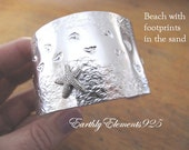 Footprints in the Sand Cuff Bracelet - Very Pretty - Inspirational