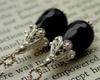 Faceted Black Onyx Teardrop Earring with Sterling Silver Filigree
