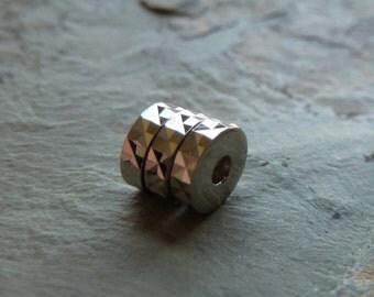 Vintage Silver Metal Faceted Rondelles - 6mm - Fancy Little Beads - Qty 25 pcs
