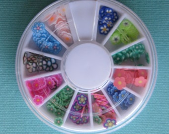 Flower Design Polymer clay cane slices Nail Art wheel