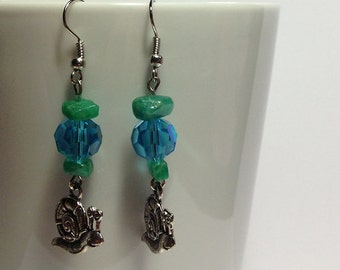 Green and Blue Snail Earrings