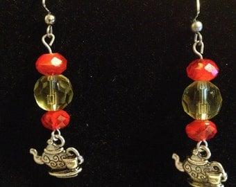 Fire Orange and Yellow Tea Pot Earrings