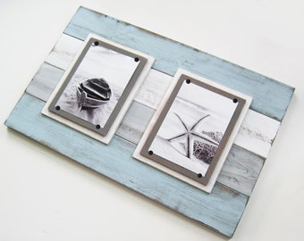 Double BIG 14x22 Distressed Plank Frame for 5x7's with Seafoam, Gray and White
