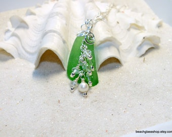 SALE - Green Beach Jewelry - Sea Glass - Beach Glass -  Lake Erie - Kelly Green Necklace
