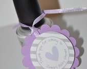 Girls Baby Shower Favor Tags - Purple and Gray - Thank You Tags - Baby Shower, Bridal Shower - Heart and Stripe - Set of 12