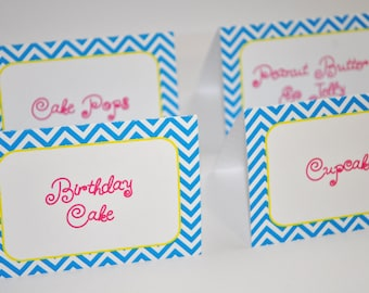 12 Birthday Food Label Tent Cards - Chevron Birthday Decorations with Polkadots - Teal, Pink, Yellow