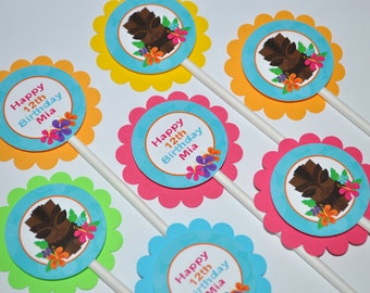 Luau Birthday Cupcake Toppers, Hawaiian Luau Birthday Decorations, Tiki Party, 1st Birthday Decorations, Personalized Party - Set of 12