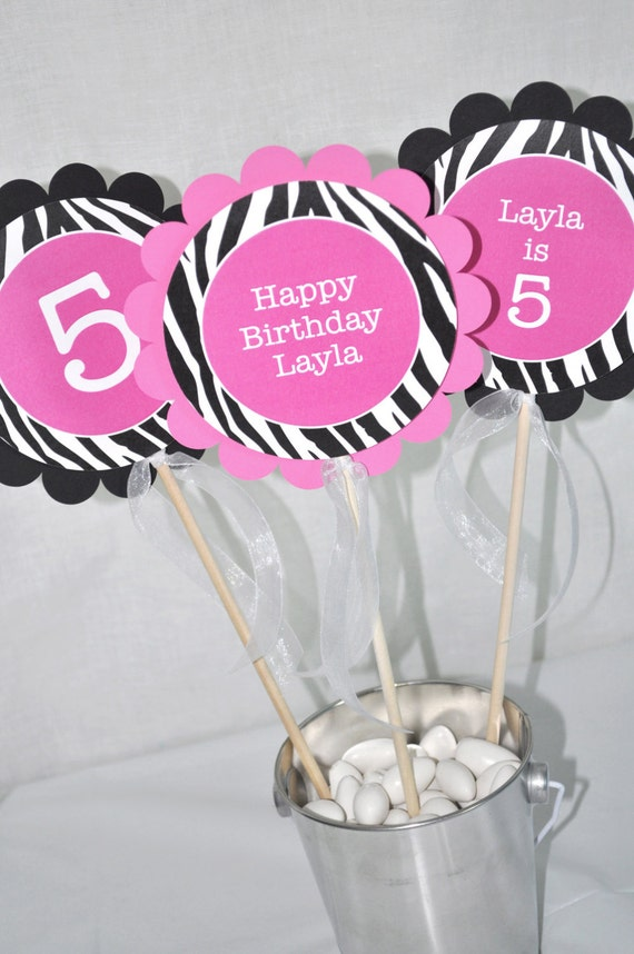 Zebra Stripe Birthday Centerpiece Sticks - 1st Birthday, 2nd Birthday ...