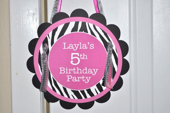 Zebra Stripe Birthday Party Door Sign 1st Birthday 2nd Birthday
