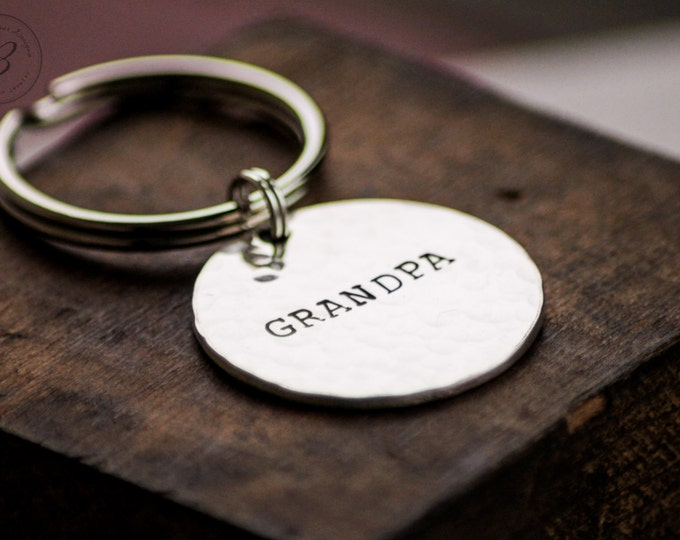 Grandpa Keychain - Personalized - Hand Stamped Sterling Keychain - Fathers Day Gift for Grandpa