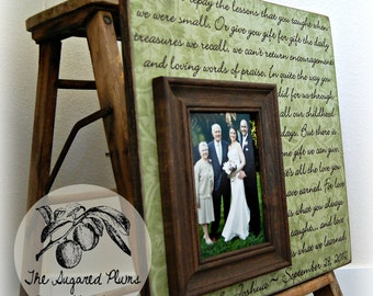 Thank You Gift For Parents Personalized Picture Frame 16x16 Wedding Anniversary Love Father of Mother of, The Sugared Plums