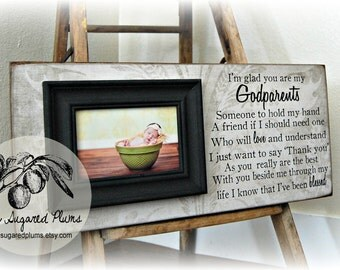 Baptism Gift for Godparents, Christening Gift, Godparents Gift, Godfather, Godmother, Personalized Picture Frame 8x20