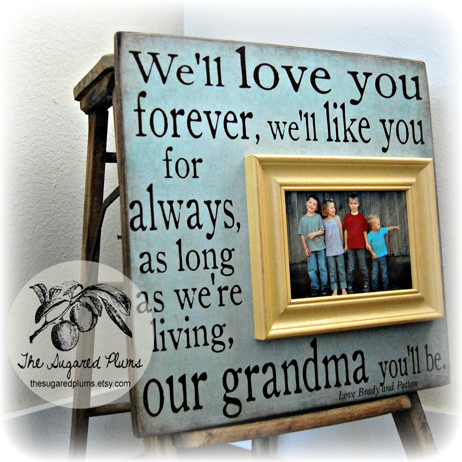 Mothers Day Frame I'll Love You Forever Grandma Gift