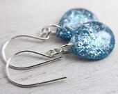 blue iridescent glitter teardrop earrings on sterling silver - resin sparkly drop earrings