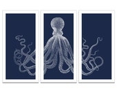 Retro Octopus Triptych On Premium Archival Matte Paper Giclee - 18x36 - Deep Blue and White