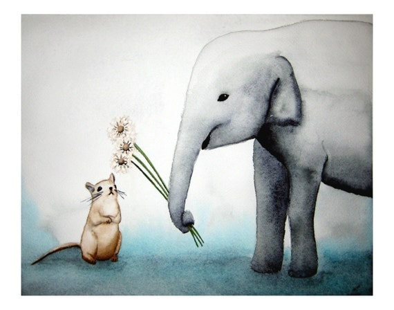 Three Wishes - Signed Art Print- Elephant and Mouse dandelion wishes, elephant nursery art aqua and gray