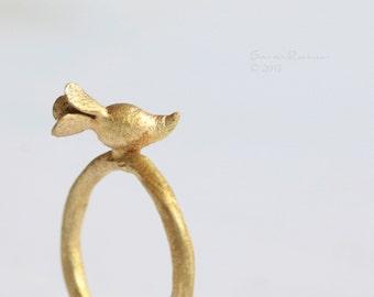 Golden Radish Ring Brass OOAK Vegetal T113