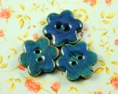 10 Pieces Of  Translucent DarkCyan Enamel Flower Buttons With Coconut Base. 0.71 inch