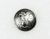 Wholesale Coin Metal Buttons - Retro 1946 American Half Dollar Eagle Silver Buttons,Self shank, 0.79 inch, 100 in a set.